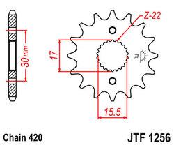 ketjuratas, etu ( JT1256 ) 420 ketjulle - 14z