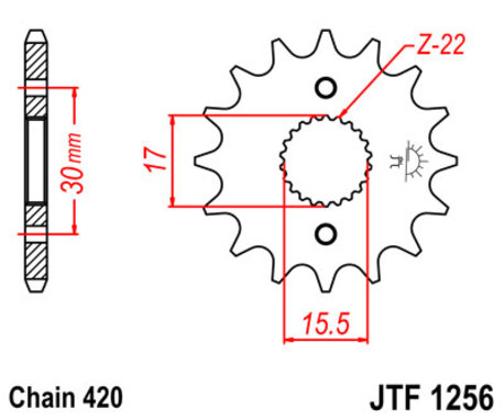ketjuratas, etu ( JT1256 ) 420 ketjulle - 13z